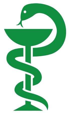 medical symbol  emblem for drugstore or medicine, green medical sign, snake and a bowl, bowl of hygieia, symbol of pharmacy, pharmacy snake symbol  Stock Vector - 14974405