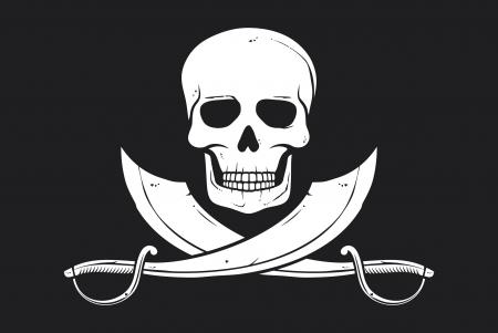 drapeau pirate: Crâne drapeau de pirate et sabre croisés Illustration