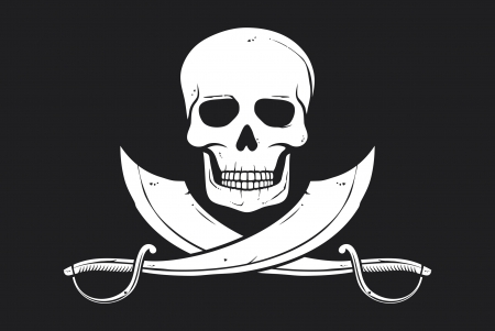 Pirate flag  skull and crossed sabers  Vector