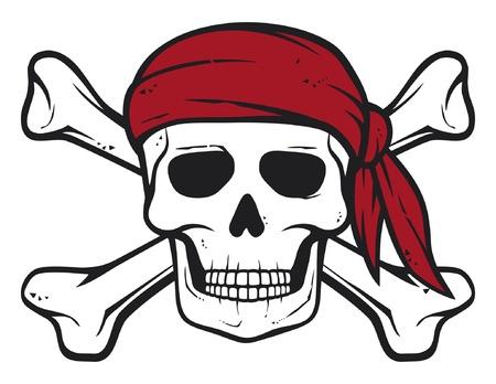 pirata: pirata cráneo, pañuelo rojo y huesos huesos piratas símbolo, cráneo y cruz, calavera con huesos cruzados