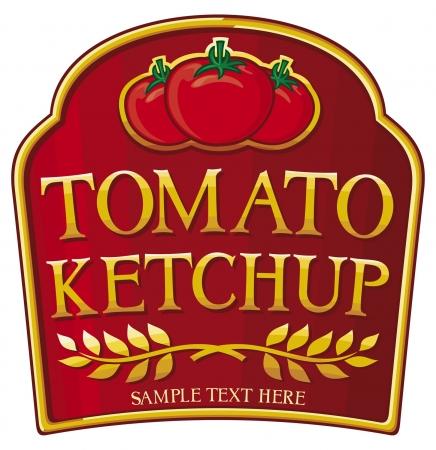 tomate ketchup etiqueta Ilustración de vector