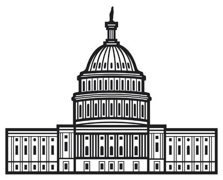 United States Capitol Capitol Hill, Amerikaanse koepel van het Capitool Vector Illustratie