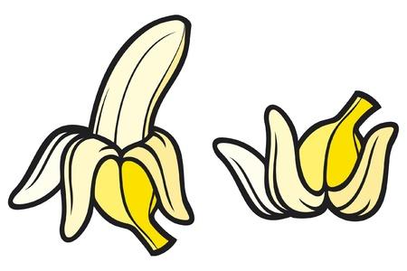 banana peel: peeled banana and banana peel