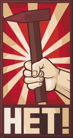 communism: soviet poster  hand holding hammer