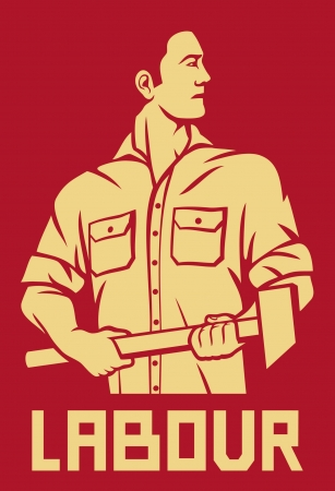 strongman: worker holding a hammer  poster for labor day, male worker with hammer, workers design