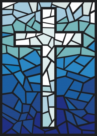 vector stained glass cross  cross in stained glass style  Vector