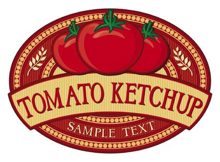 tomato ketchup label Vector