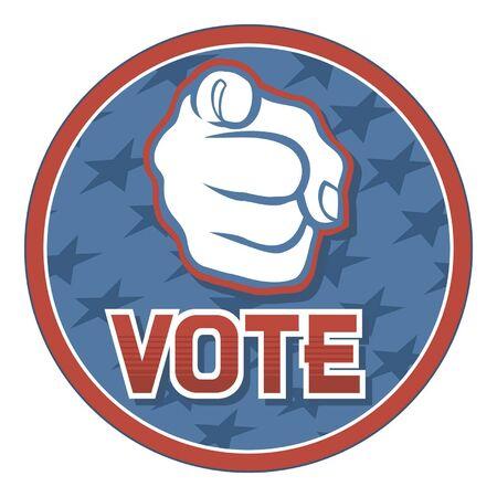 Verenigde Staten van Amerika Verkiezingen pinnen badge, ontwerp, met de hand te wijzen