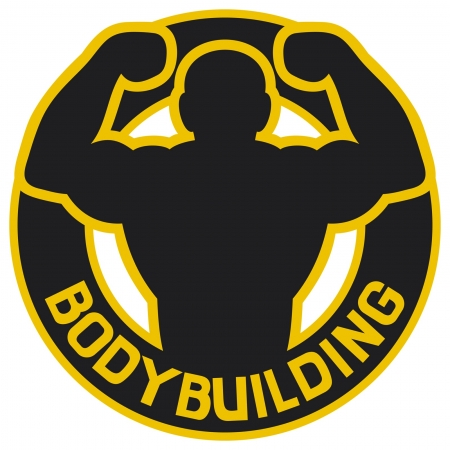 biceps: bodybuilding badge  bodybuilding symbol, bodybuilding label