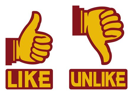 thumb up and down gesture  like and unlike Stock Vector - 14992879