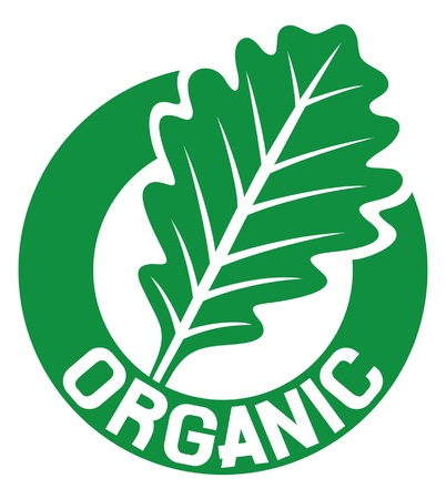 organic sign  organic seal, organic symbol, oak leaf  Vector
