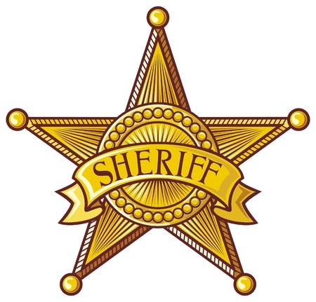 ベクトル保安官星の保安官のバッジを保安官の盾