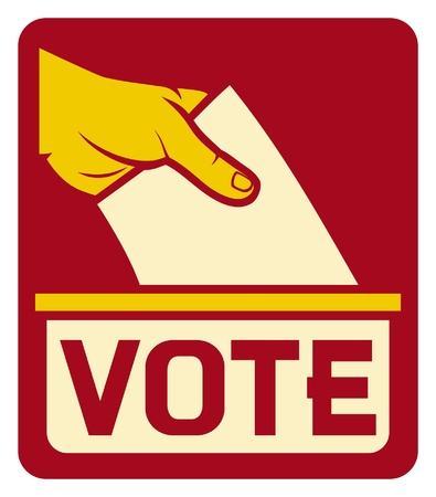 voter: vote label  vote symbol, vote icon, ballot box, hand putting a voting ballot in a slot of box  Illustration