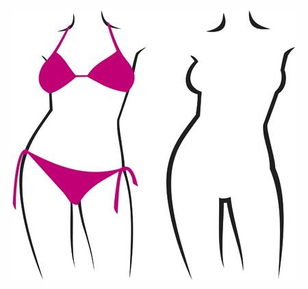 Vector illustration of a woman in bikini  beautiful female figure in bikini Stock Vector - 14994130