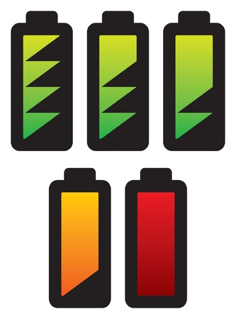 batteries with different charge levels  battery levels icons set, battery level indicator, different states of charged battery icon  Vector