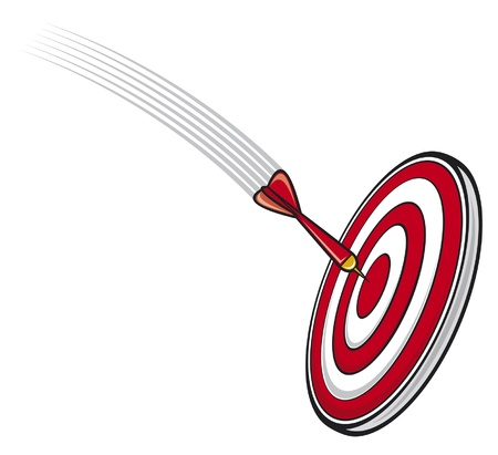 dart hitting s target  a dart flying toward a success board, success concept, target, business success concept  Vector