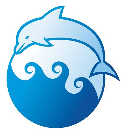 mammals: dolphin jumping symbol  dolphin label, dolphin sign, dolphin and waves  Illustration