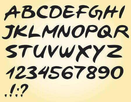 alphabet with letters, numbers and symbols Vector