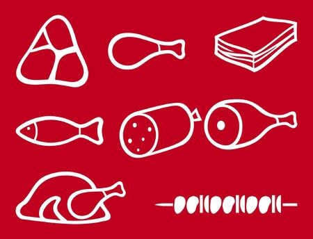 meat icons set, chef hat, knife and meat cleaver icon  bacon, salami, skewers, shell, fish, sausage, steak, pork leg, ham, meat icons symbols  Vector