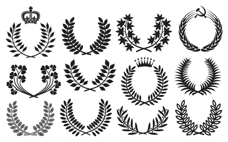 Wreath set  wreath collection, laurel wreath, clover wreath, acacia wreath, wreath of wheat and olive wreath  Vector