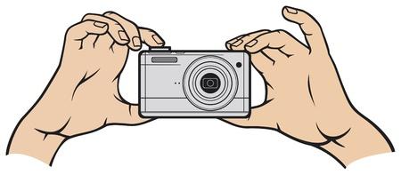 sensores: c�mara en mano c�mara de fotos digital de la c�mara en las manos, la c�mara digital compacta Vectores