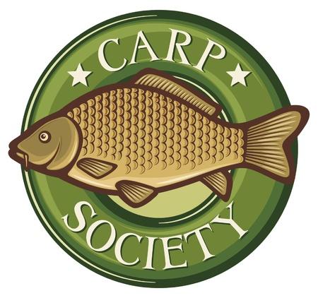 karper samenleving symbool karper samenleving badge, karper vis embleem, karper samenleving teken, karper Vector Illustratie