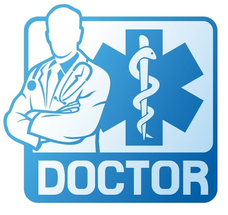 the medic: medical doctor symbol  medical symbol caduceus snake with stick, medicine emblem, blue medical sign, pharmacy snake symbol  Illustration