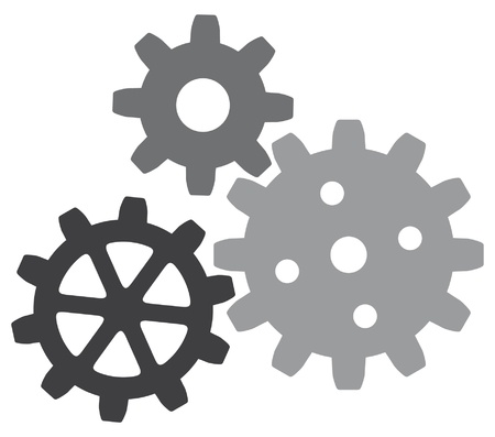 toothed: growing gears  gear icon gears icon  Illustration
