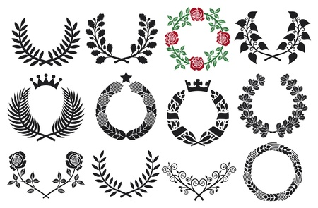 wreath set  roses wreath, wreath collection, laurel wreath, wreath of wheat, oak wreath  Vector