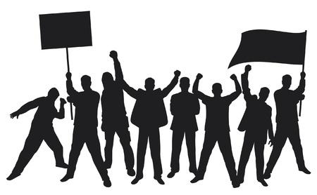 viele von wütenden Menschen protestieren