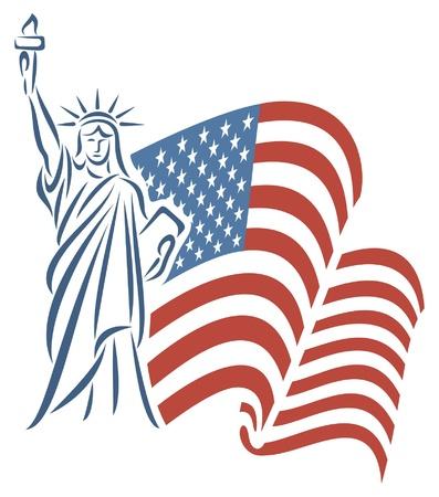 동상: 자유의 여신상과 미국 국기 일러스트