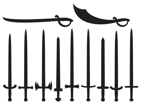 collection of swords and sabers  set of swords and sabers  Vector
