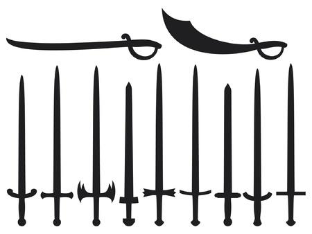 Sammlung von Schwertern und Säbeln von Schwertern und Säbeln gesetzt