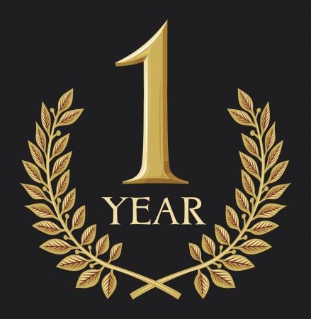 laurel leaf: dorada corona de laurel 1 a�o aniversario, jubileo Vectores