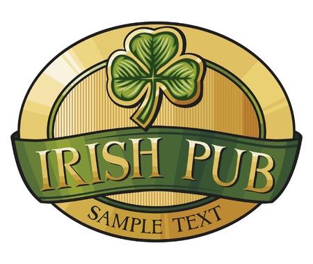 pub irlandés de diseño de etiquetas