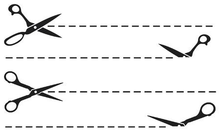 ciseaux coupent les lignes de coupe ciseaux