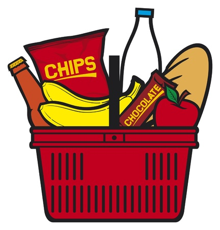 Shopping basket with produce  Shopping Basket With Food, Shopping cart  Vector