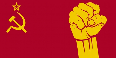 communism: ussr fist,  flag of ussr  Illustration