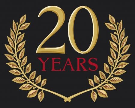 aniversario: ilustraci�n de una corona de laurel de oro - 20 a�os