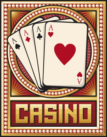 casino label design  four aces  Vector