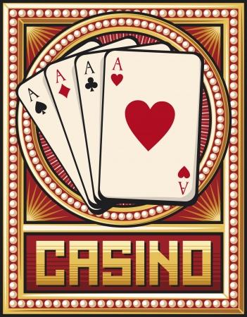 gambling chip: dise�o de etiqueta casino cuatro ases