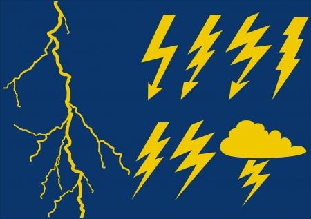 rayo electrico: relámpago conjunto Vectores