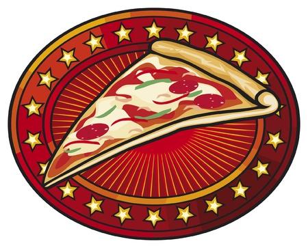 mozzarella cheese: pizzeria label design  pizza label  Illustration
