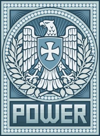 Cartel Eagle - Símbolo de aviso Power-Propaganda, Eagle y el escudo de armas de la Cruz Ilustración de vector