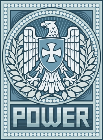 american revolution: Eagle poster - Symbol of Power- Propaganda Poster, Eagle and the Cross coat of arms