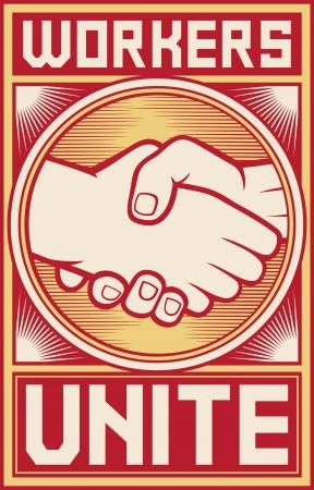trabajadores de unir a los trabajadores de carteles unir diseño Ilustración de vector