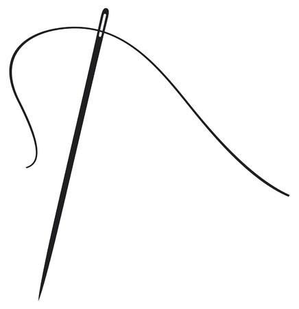 una ilustración de una aguja con el hilo de aguja de coser, la aguja de coser