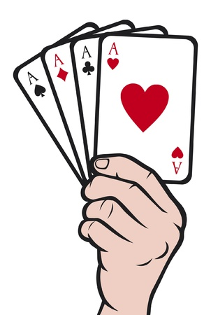 card game:  hand holding playing card