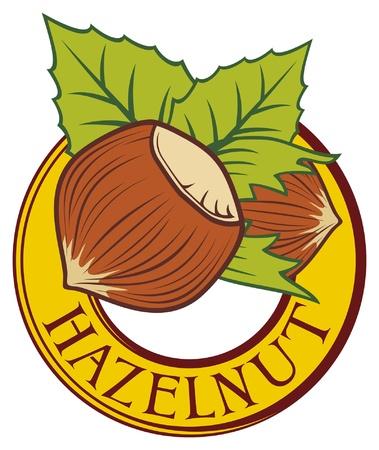 albero nocciola: Etichetta nocciole simbolo di nocciole, nocciole segno