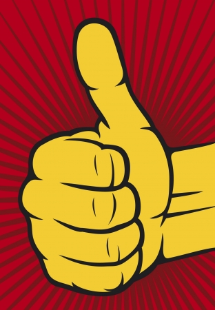 mani cartoon: mano che mostra i pollici in su Mano umana dando ok Vettoriali